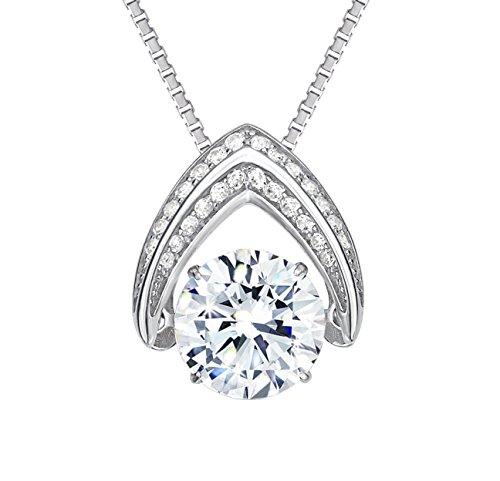 "NANA Omega Dancing Stone Pendant Swarovski Zirconia S-Silver with .8mm 22"" ADJ Box Chain-Rhodium ()"
