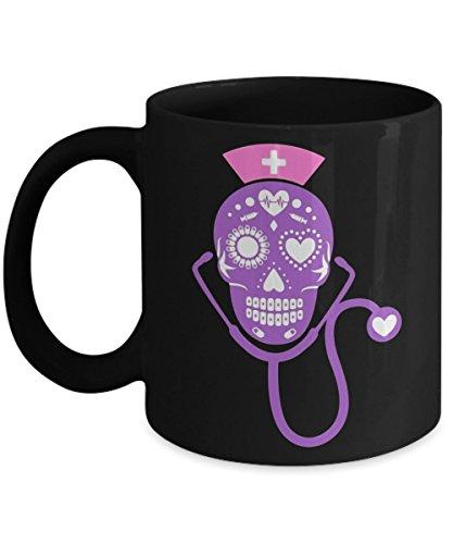 Day Of The Dead Sugar Skull Nurse - Happy Halloween Day Coffee Mug Gift Coffee Cup Mugs - Halloween Great Gifts Idea for Men, Women, Kids, Mom, Dad, S ()
