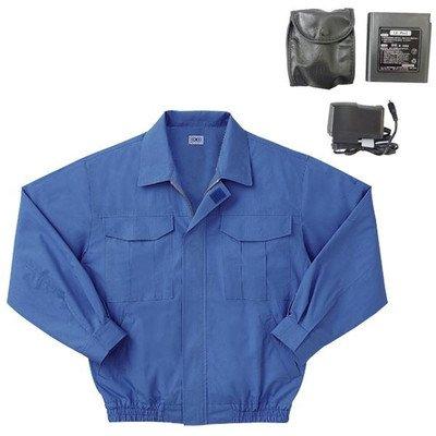 空調服 綿薄手長袖作業着 BM-500U 〔カラーライトブルー: サイズ5L〕 リチウムバッテリーセット[通販用梱包品] B07DGWBX3V