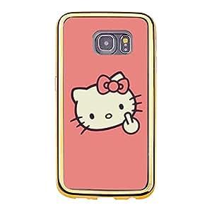 Hello Kitty Phone Case for Samsung Galaxy S6 Edge,Cute Fashion Hello Kitty Series Premium Gold Frame Phone Cover
