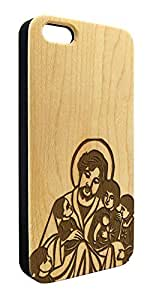 Genuine Maple Wood Organic Jesus and Children Religious Snap-On Cover Hard Case for iPhone 5C by lolosakes