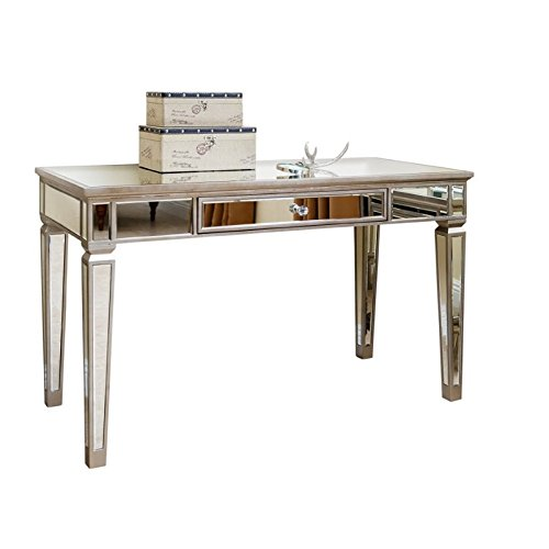Abbyson Living Omni Mirrored Writing Desk in Silver by Abbyson Living
