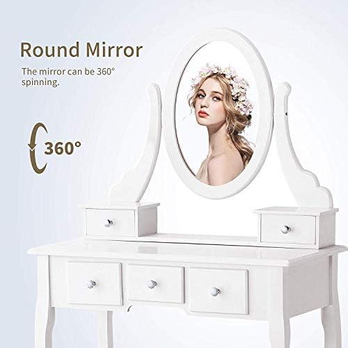 home, kitchen, furniture, bedroom furniture,  vanities, vanity benches 9 picture Mecor Vanity Table Oval Mirror,Makeup Vanity Set deals