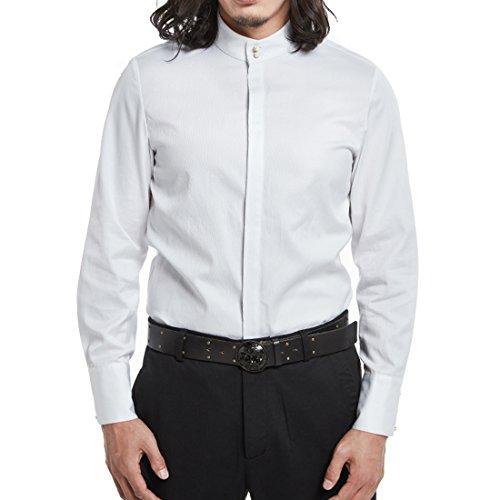Kung Fu Smith Classic Tai Chi Mandarin Collar Jade Buttons Shirt, White (Jaden Smith Martial Arts)