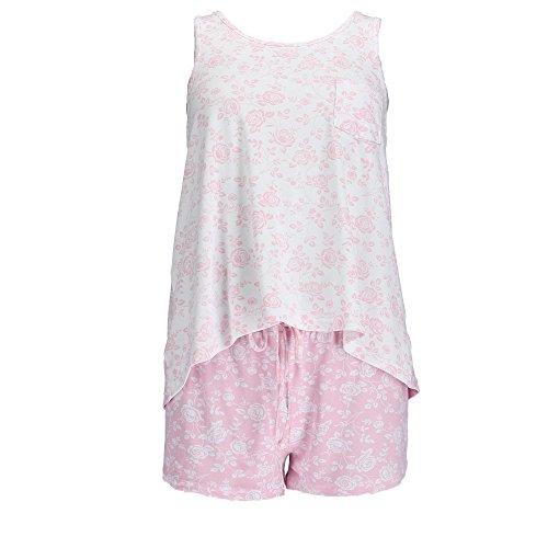 Pink Floral Pajama Shorts - Sag Harbor Women's Plus Size Floral Tank and Shorts Pajama Set, 2X, Pink