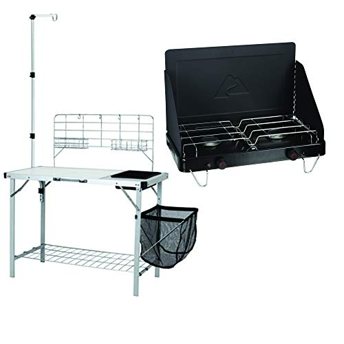 OZARK TRAIL Portable Camp Kitchen and Sink Table with Lantern Pole Bundle Propane Fold-Up 2-Burner Camp Stove
