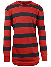 Men's Long Sleeve French Terry Striped Scallop Bottom T-Shirt