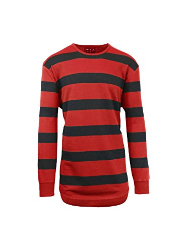 Red Scallop (Men's Long Sleeve French Terry Striped Scallop Bottom T-Shirt)