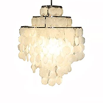 Image of Aero Snail 3-Light Round Chandelier with Round Capiz Seashells Natural White DIY Pendant Light for Living Room Bedroom (with Detailed Installation Manual) Home and Kitchen