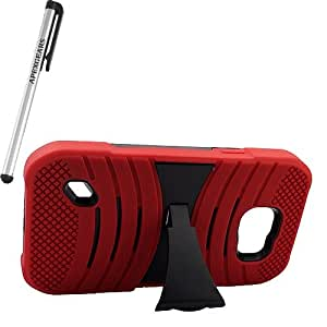 for Samsung Galaxy S6 ACTIVE Arch Hybrid Stand Cover Case Stylus Pen ApexGears (TM) Red Black