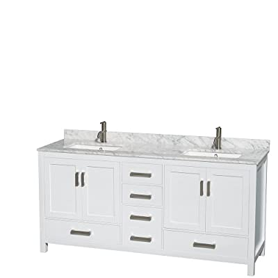 Wyndham Collection Sheffield 72 inch Double Bathroom Vanity and No Mirror