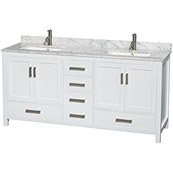 Wyndham Collection Sheffield 72 inch Double Bathroom Vanity in White White Carrera Marble Countertop  sc 1 st  Amazon.com & Wyndham Collection Sheffield 72 inch Double Bathroom Vanity in White ...