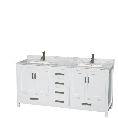 Wyndham Collection Sheffield 72 inch Double Bathroom Vanity in White, White Carrera Marble Countertop, Undermount Square Sinks, and No Mirror (Collection Vanity Top)