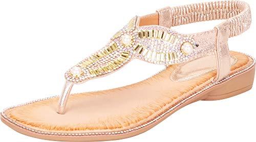 Cambridge Select Women's Thong Toe Crystal Rhinestone Stretch Slingback Flat Sandal,10 B(M) US,Gold -
