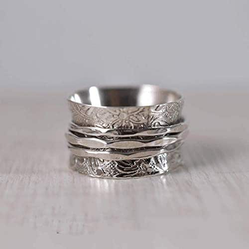 meditation statement jewelry wide band ring spinner rings for women fidget ring huge ring #09 solid 925 sterling silver spinner ring