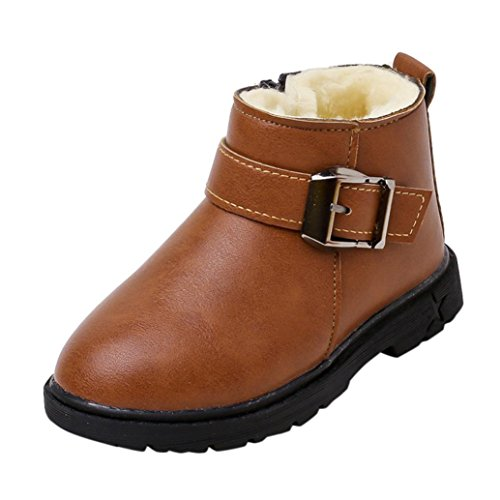 Cheap Creazy Toddler Children Boys Girls Martin Sneaker Warm Boots Kids Baby Casual Shoes (22, Brown)