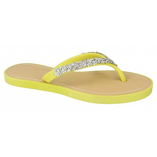 Ladies Savannah Toe Post Summer Sandals F0806 Acid Yellow