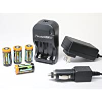 1200mAh CR123A Lithium Rechargeable Batteries and 110/240V Rapid Charger - Compatible with many cameras including Netgear Arlo Security System
