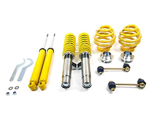 RSK Street Adjustable Coilover Kit - BMW E46 3-Series 2DR Coupe/Convertible & 4DR Sedan/Wagon (323Ci 325Ci 328Ci 330Ci 323i 325i 328i 330i) - Yellow (1999 2000 2001 2002 2003 2004 ()