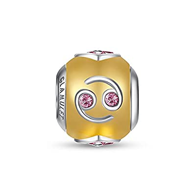 Glamulet 925 Sterling Silver Horoscope Birthstone Charm Gold Plated Beads Fits Pandora Bracelet by Glamulet