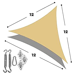 DIR Triangle 12' X 12' X 12' Sun Shade Sail with Stainless Steel Hardware Kit,Uv Top Outdoor Canopy Patio Lawn Shade Sail in Color Sand CA
