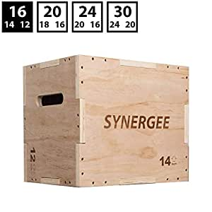 Synergee 3 in 1 Wood Plyometric Box for Jump Training and Conditioning. Wooden Plyo Box All in One Jump Trainer. Size - 16/14/12