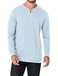 Men's 100% Cotton Henley Shirt Long Sleeve Shirts Tee