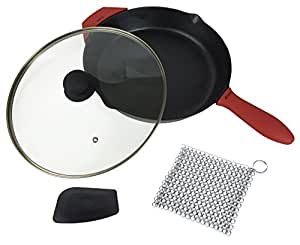12-Inch Cast Iron Skillet Set (Pre-Seasoned), Including Large & Assist Silicone Hot Handle Holders , Glass Lid , Cast Iron Cleaner Chainmail Scrubber , Scraper