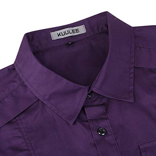 KUULEE Men's Tactical Cargo Work Shirt Military Casual Slim Fit Long Sleeve Shirts Tops