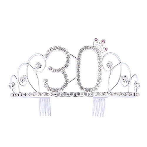 Frcolor Crystal Birthday Crown,Tiara Princess Crown Silver Rhinestone Happy 30th Birthday