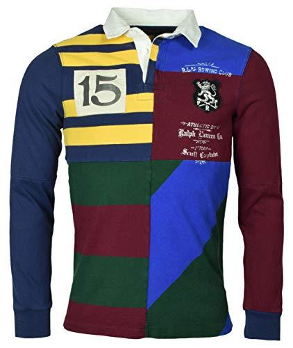 c7356809 Polo Ralph Lauren Men's Custom Slim Fit Knit Patchwork Rugby Shirt - XL