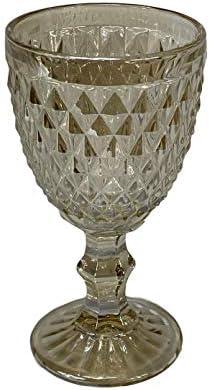 Homevibes Juego Set de 6 Copas De Vino, Copas de Vino con Relieve, Diseño Retro, Cristaleria De Calidad, Capacidad 330ml, Muy Resistentes (Cristal Beige)