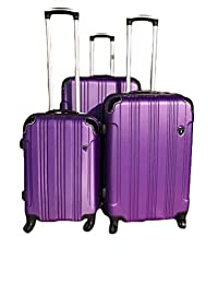 Archibolt 3-Piece Luggage Set Rolling Wheeled Spinner Suitcase ABS (Purple)