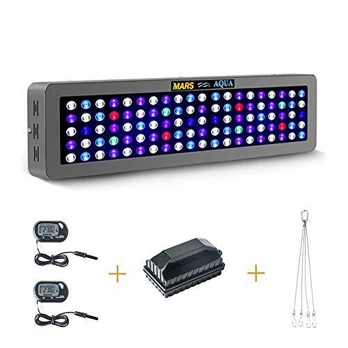 - MarsAqua Dimmable 165W 300W LED Aquarium Light Lighting Full Spectrum for Fish Freshwater and Saltwater Fish Tank Coral Reef Led Lights Blue and White LPS/SPS with Pack of 2 Thermometers and Brush