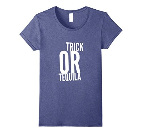 Murderer Costume Ideas (Womens Trick or Tequila Halloween T-Shirt Funny Party Tee Shirt Small Heather Blue)