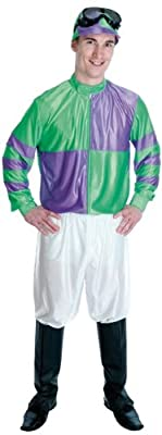 Jockey Racing Silks Green/ Purple Male Fancy Dress Costume - XL (Chest 46-48in)