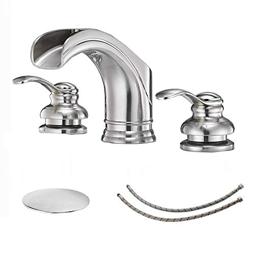 BWE Waterfall 8-16 Inch 3 Holes Two Handle Commercial Widespread Bathroom Sink Faucet Brushed Nickel