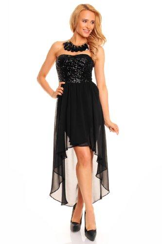 c2815ba445c8 Sexy Vokuhila Kleid Pailletten kurz Cocktailkleid Abendkleid Partykleid  Chiffon, verschiedene Farben Schwarz