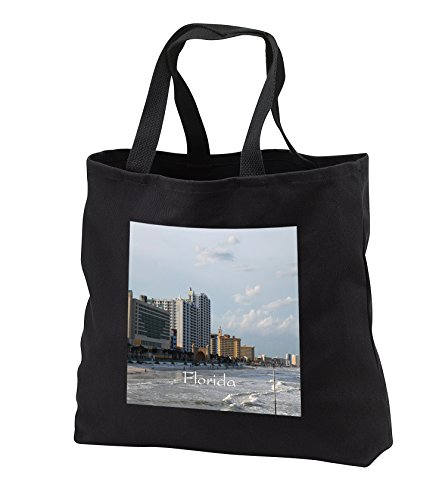 Florida - Image of Famous Daytona Beach - Tote Bags - Black Tote Bag 14w x 14h x 3d - Shopping Daytona Florida Beach