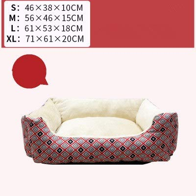 Red Square pet Bed, Striped Bones Small Foldable Soft Comfort Four Seasons Universal Cat Litter Kennel (color   Red)