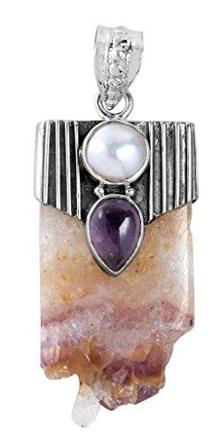 Amethyst Geode Slice Amethyst 925 Solid Sterling Silver Pendants Silver - Silver Sterling Amethyst Geode