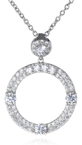 Charles Winston S Silver, Cubic Zirconia Circle Pendant, 18