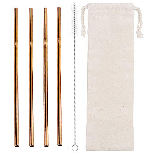 4 ct. Copper Colored Stainless Steel Reusable Metal Straws with Cleaning Brush and Cotton Bag Rose Gold Moscow Mule Yeti Straw