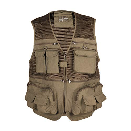 Rainbow Finch Fly Fishing Photography Vest with Pockets Men's Mesh Quick-Dry Waistcoat Outdoor Jackets for Travelers Khaki XL