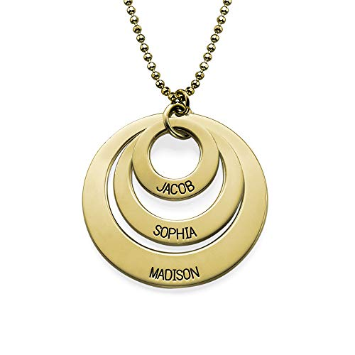 (Engraved 3 Discs Circle Names Necklace for Mom 10 Karat Gold-Custom Made Personalize with Kids Pendant (22.00, 10k Solid)