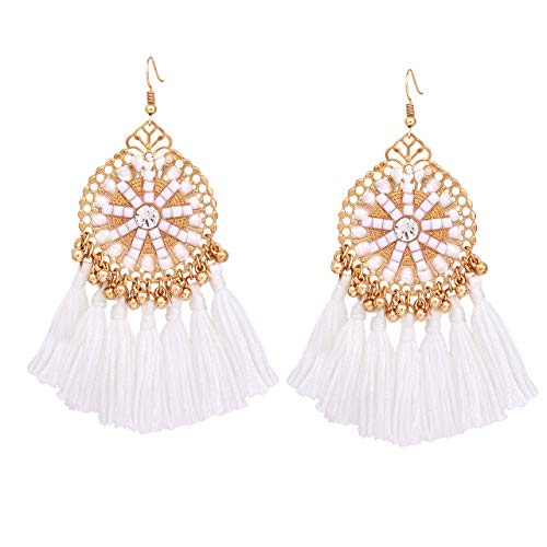 White Tassel Earrings for Women HSWE Multistrand Thread Fringe Earrings (coil white)