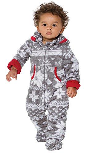 PajamaGram Hoodie-Footie Nordic Fleece Onesie Pajamas, Infant, Gray, 12 Months