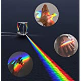 Crystal Optical Glass Triangular Photography Prism Teaching Prism Rainbow Spectrum Experiments Glass K9 Crystal with Cleaning Pouch (2.5 inch)