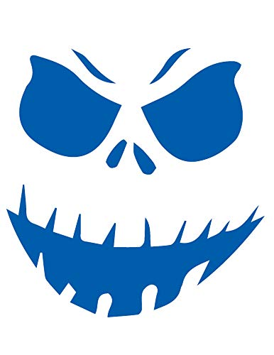 ANGDEST Halloween Pumpkin FACE Funny (Azure Blue) (Set of 2) Premium Waterproof Vinyl Decal Stickers for Laptop Phone Accessory Helmet Car Window Bumper Mug Tuber Cup Door Wall Decoration