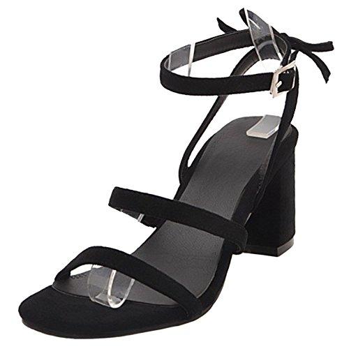 TAOFFEN Women Fashion Block Heel Sandals Open Toe Black SgV0S4P